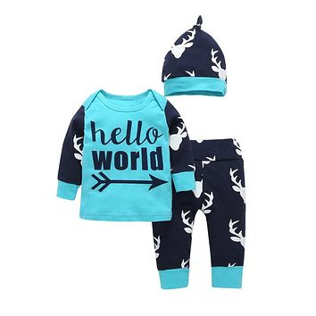 Hello World Newborn Baby boy Clothing Set Letter printed T-shirt+Pants+Hats 3pcs Fashion Toddle Boys Girls clothes outfit 0-24M