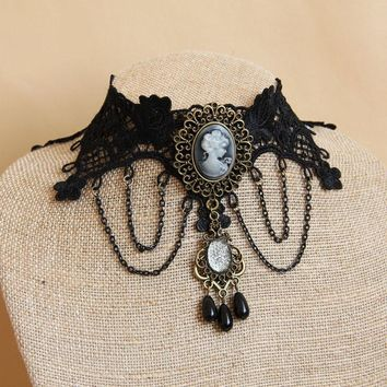 Vintage Black Lace Necklace Beads Tassel Choker Victorian Steampunk Style Gothic Collar Pendant Necklace Party Jewelry