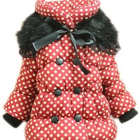 Baby Girls Kids Polka Dot Winter Basic Jacket Coat Clothes Snowsuit Outwear 1-4Y