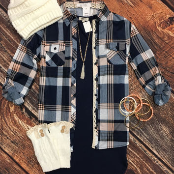 Penny Plaid Flannel Top: Lace