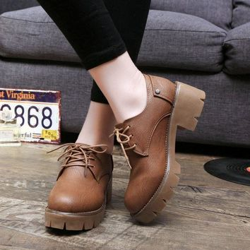 ICIK0OQ Winter Thick Crust Leather Low-cut England Style Round-toe Boots [9432939914]