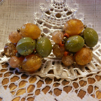 Pair Of Vintage West Germany Cluster Clip Earrings Plastic Glitter Beads Orange Green Filigree