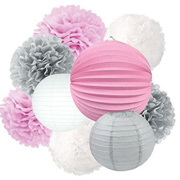 PINK GIRLS Baby Shower- Pink Gray Party Decoration Set | Pink and Gray Party Poms & Lantern | Girls Birthday Party | Pink Girls Cake Smash