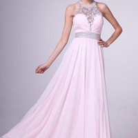 PRIMA 17-3907 Blush Jeweled Halter Chiffon Prom Dress