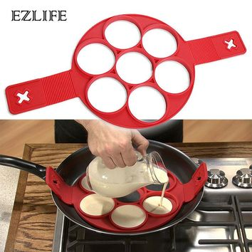 EZLIFE Fried Egg Pancake Maker Mold Silicone Forms Non-stick Simple Operation Pancake Omelette Round Mold Kitchen Accessories