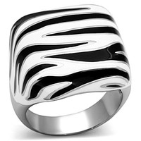 Unisex Black and White Epoxy Stainless Steel Ring