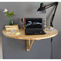 Space Saving 8 X 10 Inch Wall-Mounted Floating Laptop Desk In Natural