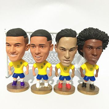 Soccerwe Stand Neymar Jr Willian Coutinho Jesus Doll Brasil 2017 Yellow Kit