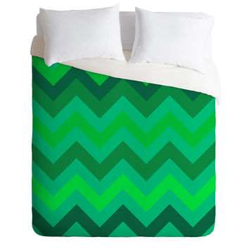 Romi Vega Green Chevron Green Duvet Cover