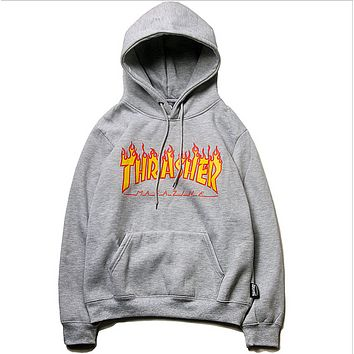Thrasher New fashion bust flame print couple hooded long sleeve sweater top Gray