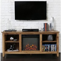 Barnwood 2-in-1 Electric Fireplace Space Heater & 58-inch TV Stand