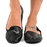 Rocket Dog Black Glitter Fabric Morrison Sparkle Flats Casual Shoes