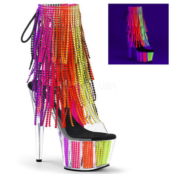 Neon Simulated Rhinestone Fringed Stripper Ankle Boots