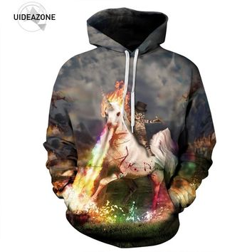 Unicorn Spitting Fire Cat Hat Glasses All Over Print Hoodie Sweater