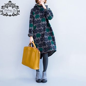 Women's Cat Print Cotton Over Size Turtleneck Dress