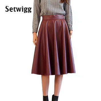 SETWIGG Spring Synthetic Leather Midi Skirts 63cm Women's Street Fashion Burgundy PU Leather Knee Length Flare Punk Skirt SG02