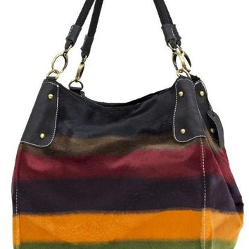 ONETOW Colorful Striped Faux Fur Patterned Purse Day-First?