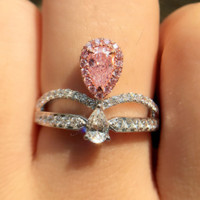 Pink diamond ring women artificial diamond loose diamond powder drill micro-crown crown diamond ring