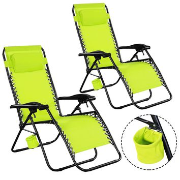 2PC Zero Gravity Chairs Lounge Patio Folding Recliner Outdoor Green W/Cup Holder