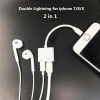 2 in 1 Double Jack Audio Adapter for iPhone 7/8/X for  iOS11 Charging Music or Call For Lightning Charging Adapter earphone