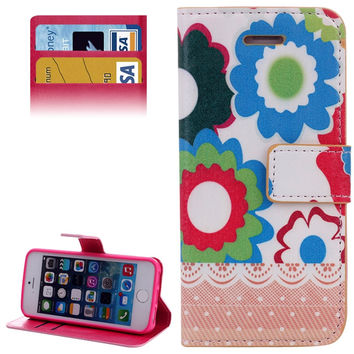 Big Flower Pattern Leather Case with Credit Card Slots & Holder for iPhone 5 & 5s & SE & SE
