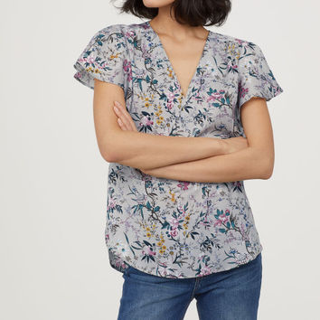 Short-sleeved Satin Blouse - from H&M