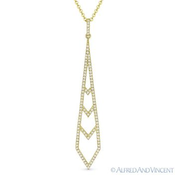 0.24 ct Round Cut Diamond Pave 14k Yellow Gold Stiletto Pendant & Chain Necklace