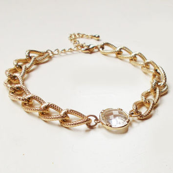 Chunky Clear Stone Bracelet - Gold Plated Stacking Bracelet - Gemstone Bracelet