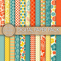 Red Blue Yellow 24 Pack Digital Paper - Damask Floral Geometric Patterns - 300 DPI - JPG Format - 24011