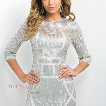Long Sleeve Sequin Dress: Blush C351