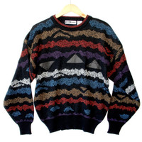Vintage 90s Squiggly Stripes & Leather Triangles Cosby Sweater