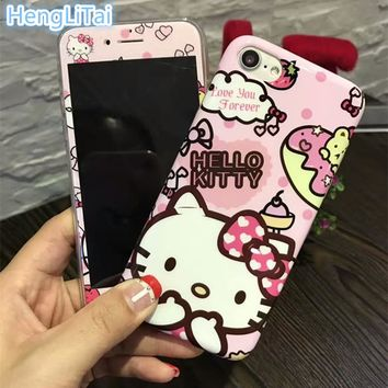 Cartoon Lovely Hello Kitty soft TPU Phone case and the same paragraph 3D carbon fiber Film For iPhone 8 8plus 7 6 6s plus
