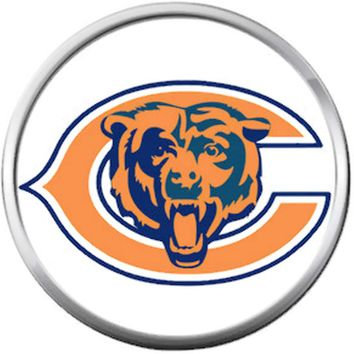 Chicago Bears NFL Logo With Bear On White Football Lovers Team Spirit 18MM - 20MM Snap Jewelry Charm