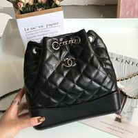 Chanel 2018 counter models women's stylish trendy high quality backpack F-AGG-CZDL black
