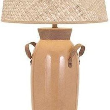 Toleda Terracotta Table Lamp with Woven Shade