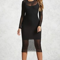 Mesh Long-Sleeve Dress