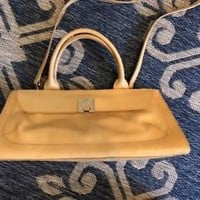 FURLA Mustard or Butter Yellow Leather Handbag Purse Bag snap * elegant