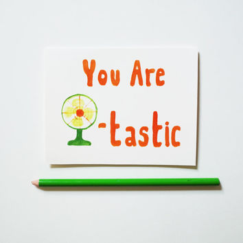 thank you card set of 4, You Are Fantastic retro love stationery