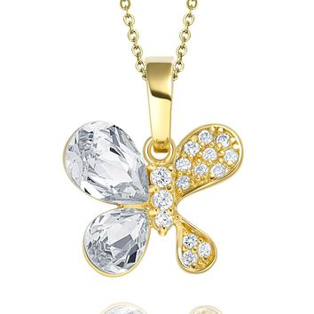 Cute Unique Magical Butterfly Good Luck Charm Amulet Gold-Tone Sparkling Crystals Pendant Necklace