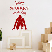 Sprinter Wall Decal Quote Getting Stronger Each Day Sport Sticker Vinyl Decals Art Mural Bedroom Interior Design Boy Room Nursery Decor KY14