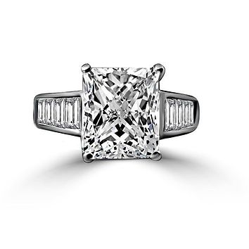 Fine 5 CT. (12x10mm) Diamond Veneer Radiant cut Sterling Silver Engagement Ring 635R7817