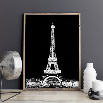 Eiffel tower poster. Watercolor eiffel Paris printable artwork. Watercolor fashion artwork