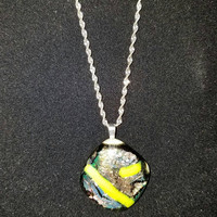 Yellow Glass pendant on sterling silver chain, unique jewelry, unique necklace, yellow glass pendant, dicholic glass pendant