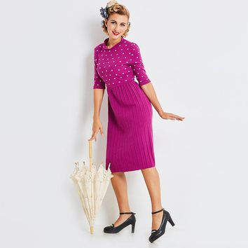 Sisjuly Stand Collar Half Sleeve Purple Pleated Dress Long Sweater Dress Polka Dot Draped Women Winter Knit Dress