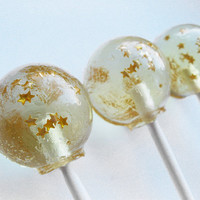 Champagne toast with gold stars - 6 pc. by Vintage Confections - MADE TO ORDER