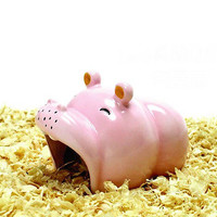 1X Ceramic Hamster nest Cool house-Hippo Shape