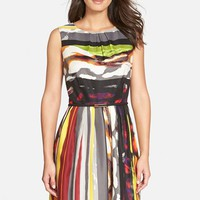 Women's Ellen Tracy 'Galaxy Stripe' Belted Print Twill Fit & Flare Dress,