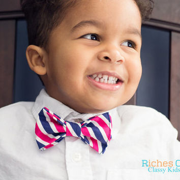 Toddler Bow Tie - Navy  and Pink Chevron Bow Tie for infants, toddlers, boys.