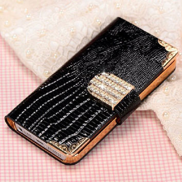 Luxury 5S Wallet Crystal Bling PU Leather Case For iPhone 5 5S New Mobile Bags Rhinestone Cover Phone Cases for iPhone5