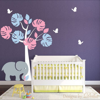Jungle Tree Baby Girl Nursery Wall Vinyl Art, Elephant and butterflies